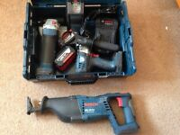 BOSCH 18V ANGLE GRINDER DRILL SABRE SAW WORKLIGHT 2X5.0Ah BATTERIES FAST CHARGER PROFESSIONAL LI-ION