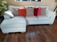 NEXT Cream Leather Sofa