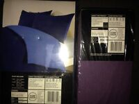 Reversable Double Duvet Set (Dark/Light Blue) & Double Fitted Sheet (BNIB)