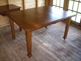 Dining Table Oak Early 20th Century Extending Four Legs with Castors