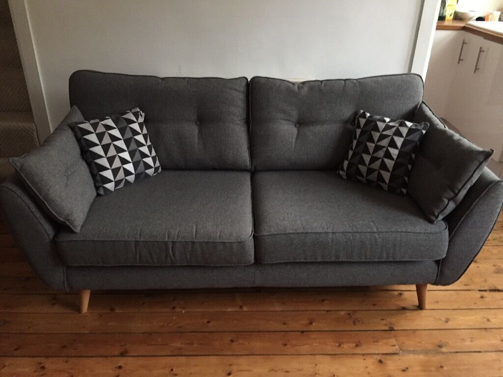 Dfs French Connection Zinc 3 Seater Sofa Grey In Armley