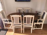 6/8 Seater extendable dining table and chairs
