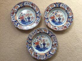 THREE (3) MINT CONDITION Matching Early Mason Patent Ironstone China Plates (c.1815)