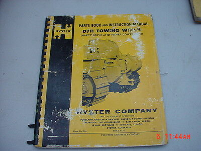 Hyster D7h Towing Winch Parts Book Tractors Form 955