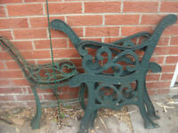 2 cast iron bench ends