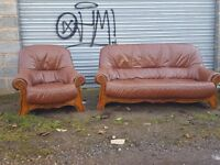 Comfy brown leather sofa suite. 3 +1. solid wood frame. delivery available