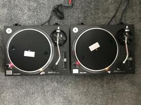 A pair of mint Technics SL1210 Turntables with original manual operating instructions FREE DELIVERY