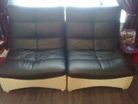 as new designer real leather 6 big leather chairs big glass top leather table black and cream