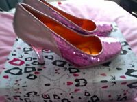 Pink Sparkly Irregular Choice sequin shoes size 7