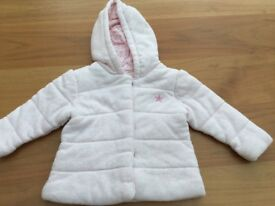 12-18 Months Next Pink/white soft hooded coat
