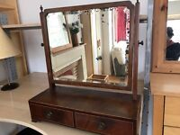Dressing table mirror with two draws. Mirror has some marks.
