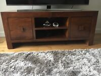 Solid mango wood TV media unit and nest of tables