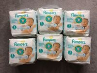 Pampers new baby sensitive size 1, 6 unopened packs, 138 nappies