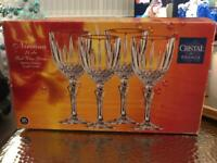 Lead Crystal Red Wine Glasses x 4 in box £7