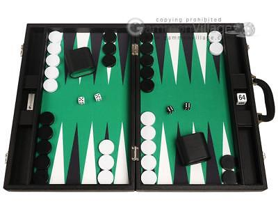 - 19-inch Premium Backgammon Set - Black Board with White and Black Points
