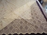 Cream lace lined curtains