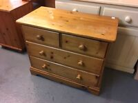 NICE SOLID PINE PANELLED BACK CHEST OF DRAWERS