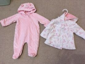 First size baby girls snowsuit pramsuit and coat jacket