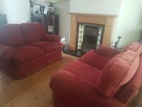 Two M & S Sofas in rich wine red
