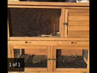 Two tier rabbit hutch, excellent condition.