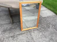 Large wooden framed mirror, Richmond Float Glass, Very good condition, 23 by 35 inches.