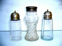 THREE VINTAGE SILVER PLATED CRYSTAL AND GLASS SUGAR SHAKERS