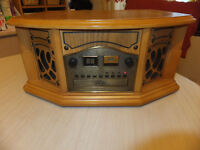 Wooden ART DECO STYLE RECORD PLAYER with Built in 2 BAND RADIO and CASSETTE Tape Player
