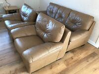 Three piece leather suite for sale excellent condition