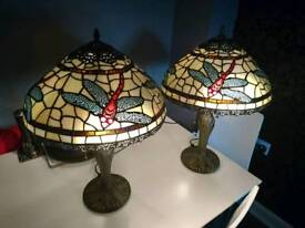Large Tiffany Style Lamps x2