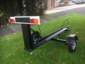 Custom made heavy duty motorbike trailer with ramp and lighting board
