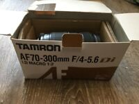 Tamron AF70-300mm F/4-5.6 Compact top tele-zoom lens with macro 1:2 function