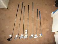 7 golf clubs , 9 golds balls and golf case.