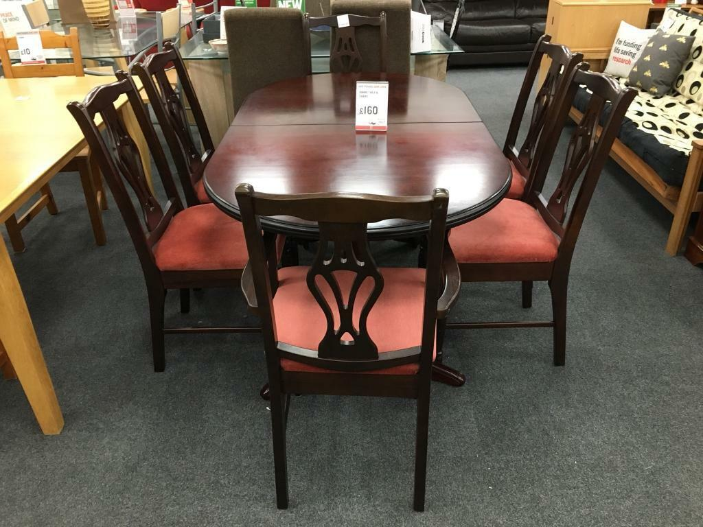 Fabulous Bhf Dark Wood Dining Table 6 Chairs With Salmon Cushions In Clydebank West Dunbartonshire Gumtree Onthecornerstone Fun Painted Chair Ideas Images Onthecornerstoneorg