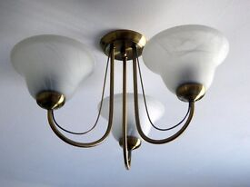 Brushed bronze and glass 3 light ceiling fitting.