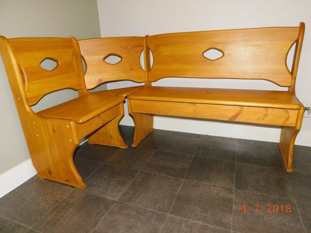 Wooden l shaped bench dining space saving seating with storage perfect for christmas dinner