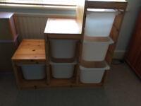 IKEA Pine Storage unit with white drawers