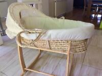 Teddy bear Moses basket & rocking stand - £15 only!