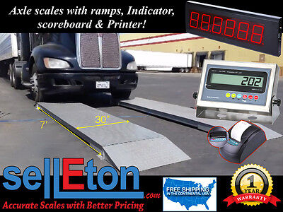 "NEW 7' x 30"" Axle Scale for truck / Cap: of 60,000 lbs./ Scoreboard & Printer"