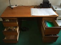 Office/study desk with filing cabinet/drawer and a comfortable chair