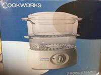 BRAND NEW Cookworks two bowl steamer
