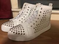 Christian Louboutin White Hightop Leather Boxed Brand New Gold Spikes