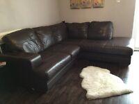 Corner sofa. Brown leather. £200 ono