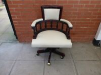 A White/Light Cream Green Leather Chesterfield Captains Chair