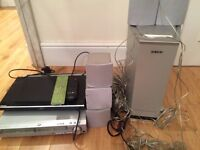Sony surround sound system, 5 speakers, DVD player & Blu Ray player