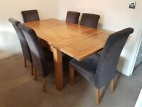 Stylish Solid Oak Extending Dining Table plus 6 Contemporary Scroll Back Chairs with Solid Oak Legs
