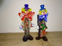 Two Murano glass clowns. Vintage 1960s glassware from Italy