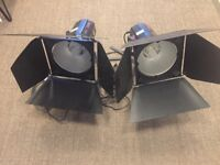 2 x Bowens Esprit 250 Flash and Lamp with floor tripod, barn doors, cable