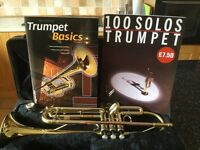 Trumpet with case 2 books