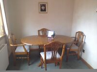 Ducal pine dining table and 4 chairs