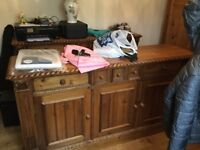 X2 pine sideboards & matching cupboard